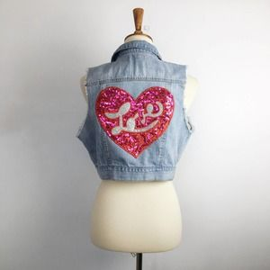 Upcycled cropped denim vest sequin love heart M/L